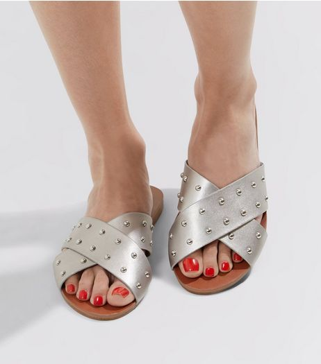Silver Metallic Studded Cross Strap Sandals  | New Look