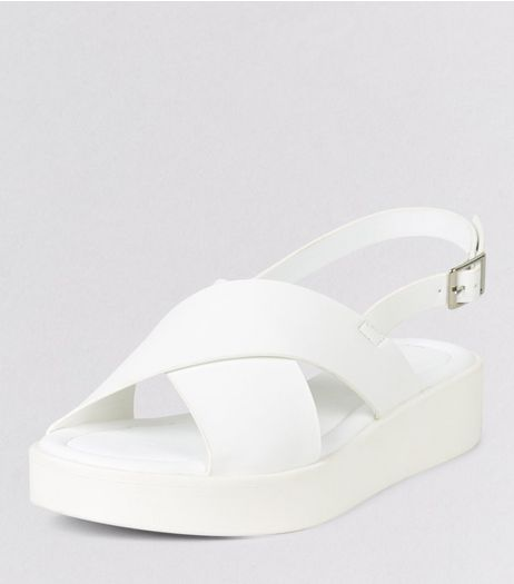 White Cross Strap Sport Sandals  | New Look