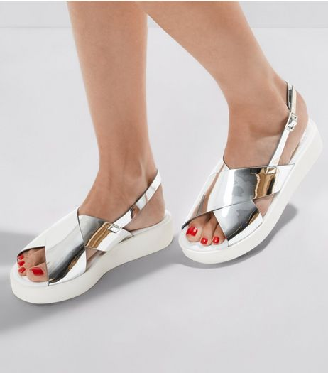 Silver Patent Cross Strap Sandals  | New Look