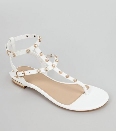 White Pearl Stud Sandals | New Look