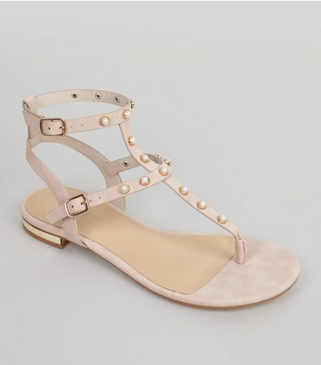 Pink Pearl Stud Sandals | New Look