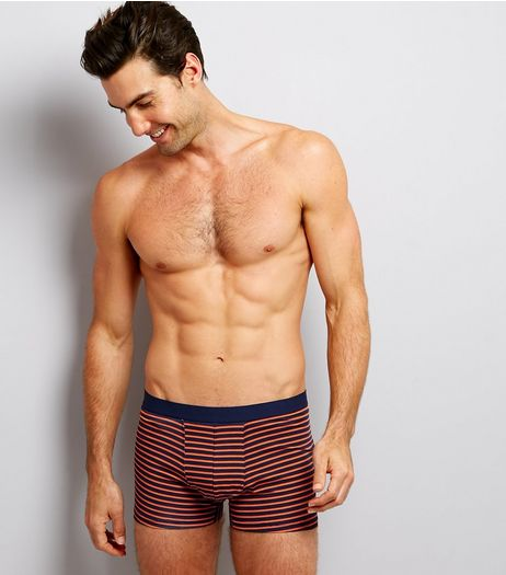 3 Pack Orange Stripe Grey and Navy Trunks | New Look