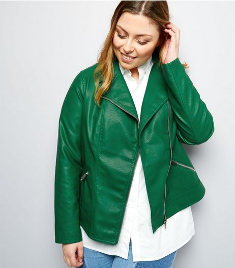 Curves Dark Green Leather-Look Biker Jacket  | New Look