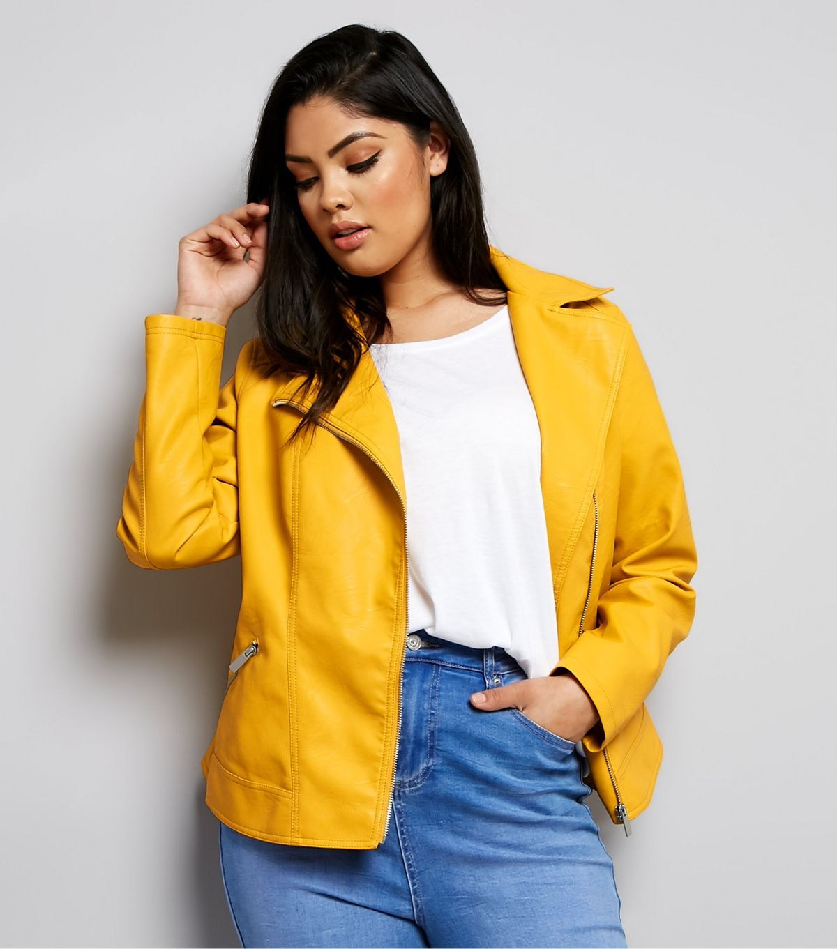 e7ff95d09ea42 New Look Curves Yellow Leather-Look Biker Jacket £39.99