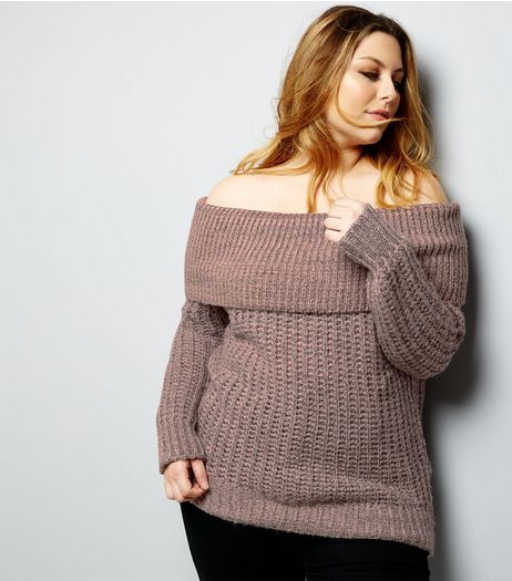 Curves Pink Twisted Yarn Bardot Neck Jumper | New Look