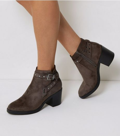 Grey Suedette Studded Block Heel Boots | New Look