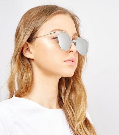 Silver Mirrored Cat Eye Sunglasses | New Look