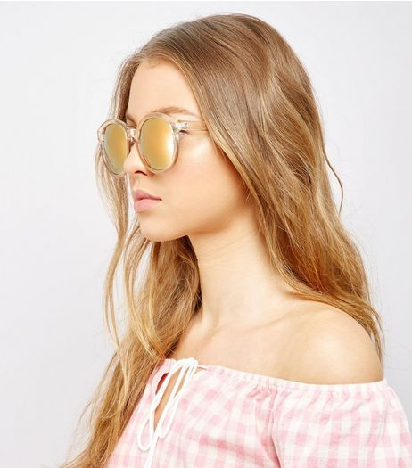 Yellow Mirror Lens Sunglasses | New Look