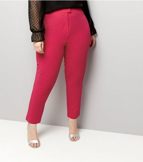Curves Bright Pink Slim Leg Trousers | New Look