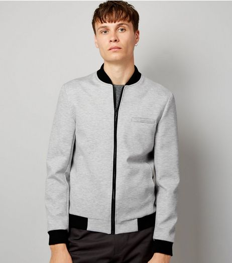 Grey Tailored Jersey Bomber Jacket  | New Look