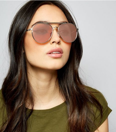Silver Mirrored Lens Pilot Sunglasses | New Look