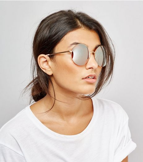 Rose Gold Round Mirrored Sunglasses | New Look