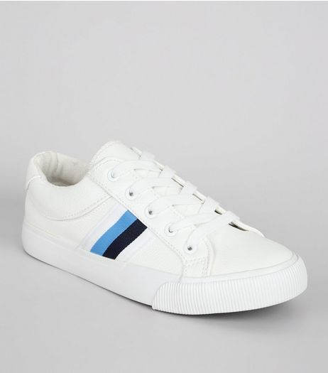 Teens White Stripe Trim Trainers | New Look