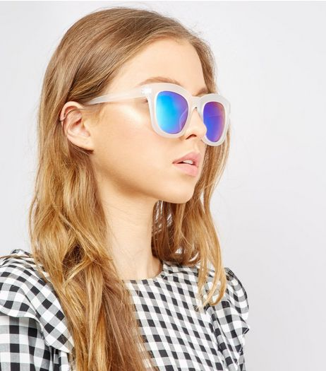 Transparent Blue Chunky Frame Sunglasses | New Look