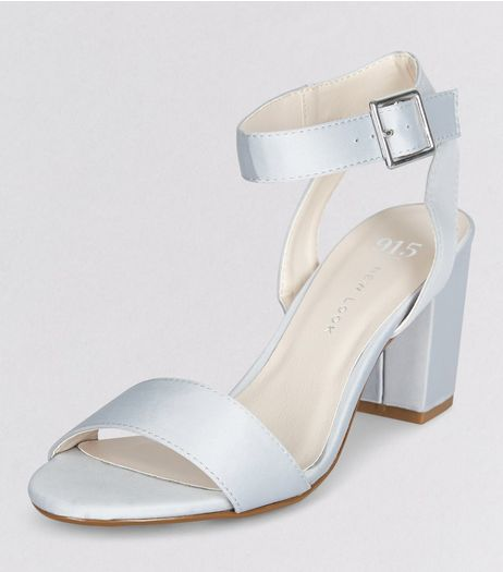 Teens Grey Sateen Ankle Strap Heels | New Look