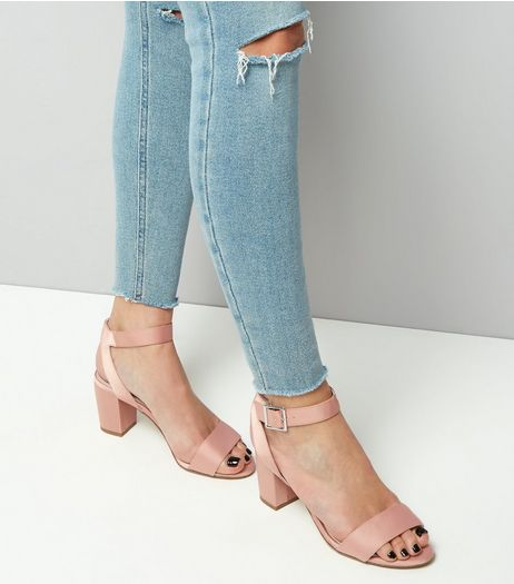 Teens Pink Sateen Block Heels Sandals | New Look