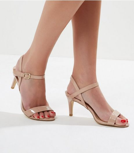 Cream Patent Ankle Strap Sandals | New Look