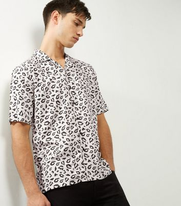 Black Animal Print Short Sleeve Shirt