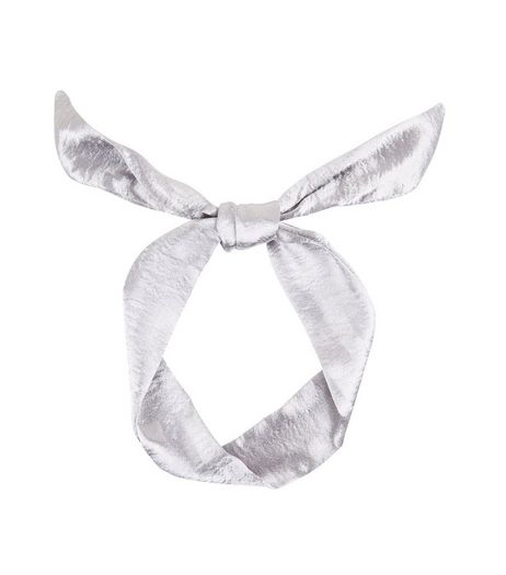 Silver Sateen Neck Tie | New Look