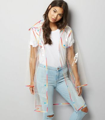 Multicoloured Clear Hooded Anorak