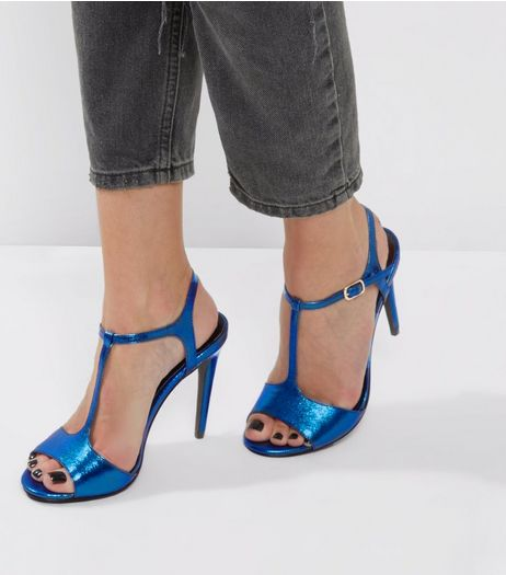 Blue Metallic T-Bar Heels | New Look