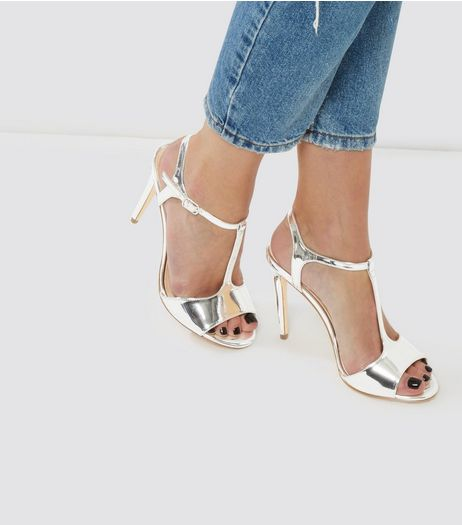 Silver Metallic T-Bar Heels | New Look