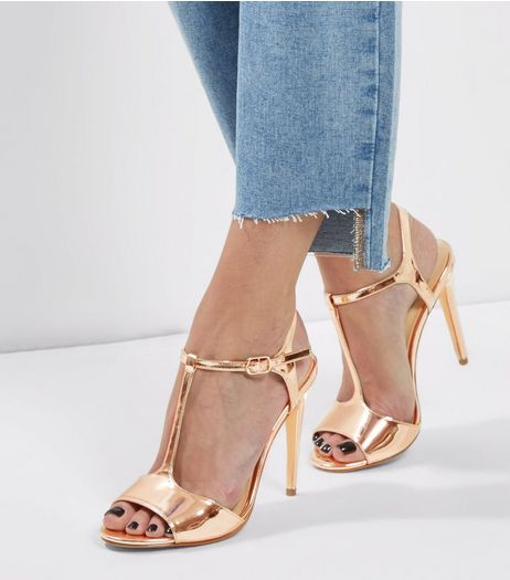 Rose Gold Metallic T-Bar Heels | New Look