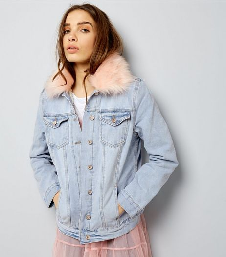Blue Borg Lined Faux Fur Trim Denim Jacket  | New Look