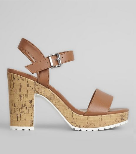 Tan Leather-Look Strap Heeled Sandals  | New Look