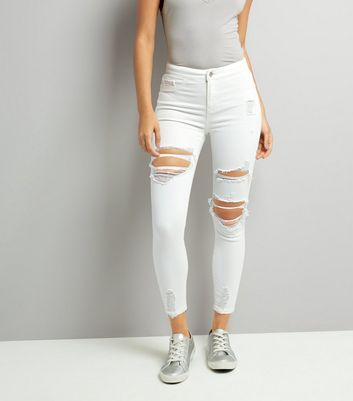 White Ripped Skinny Hallie Jeans