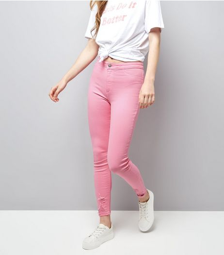 Pink Ripped Skinny Hallie Jeans | New Look