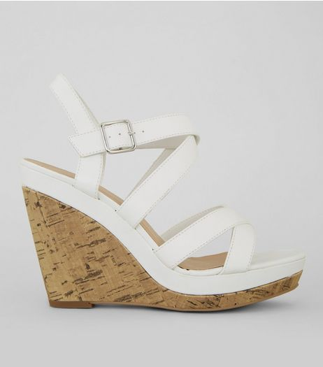 White Strappy Cork Wedge Heeled Sandals | New Look