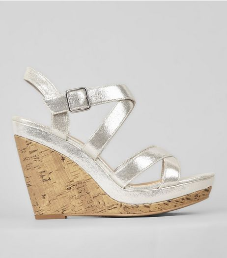 Silver Multi Strap Cork Wedge Heels | New Look
