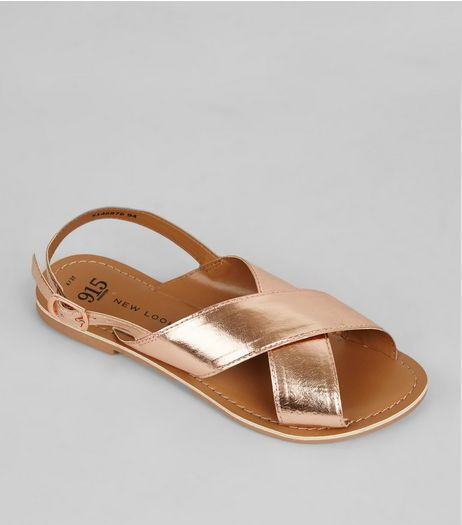 Teens Rose Gold Leather Cross Strap Sandals | New Look
