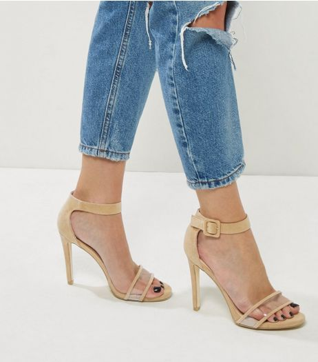 Cream Suedette Clear Front Ankle Strap Heels | New Look