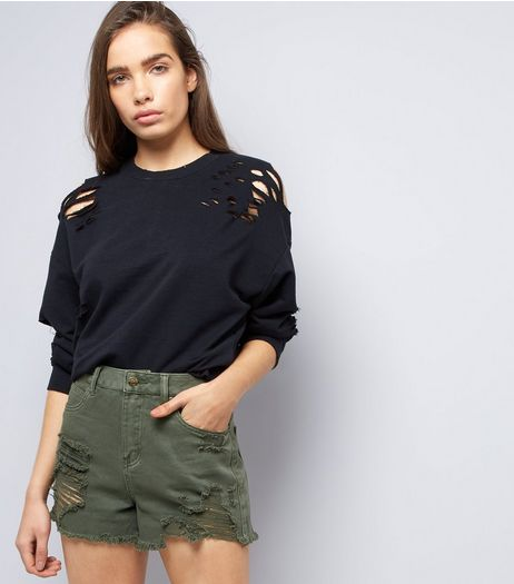 Khaki Ripped Fray Hem Denim Shorts  | New Look
