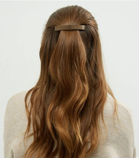 Brown Textured Oversized Hair Slide | New Look