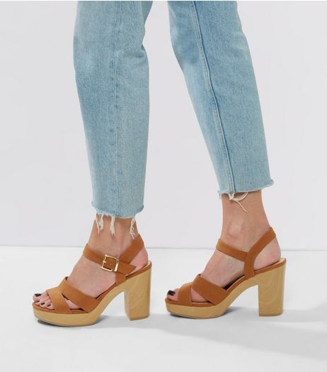 Tan Suedette Contrast Sole Heels | New Look