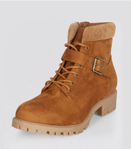 Teens Tan Suedette Lace Up Boots | New Look