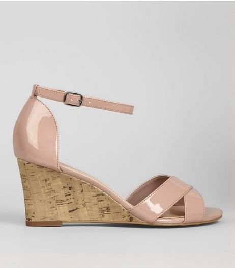 Pink Patent Cork Wedge Heels | New Look