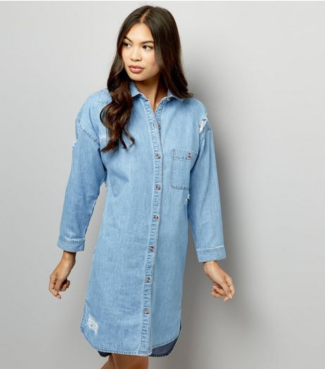 Blue Ripped Oversized Denim Dress  | New Look