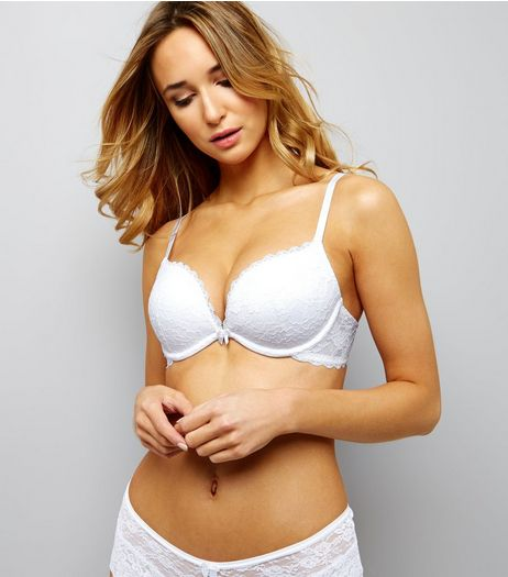 White Scallop Trim Lace Push Up Bra | New Look