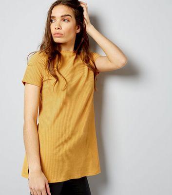 Yellow Ribbed Short Sleeve Longline T-Shirt