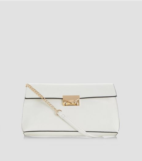 White Contrast Trim Shoulder Bag | New Look