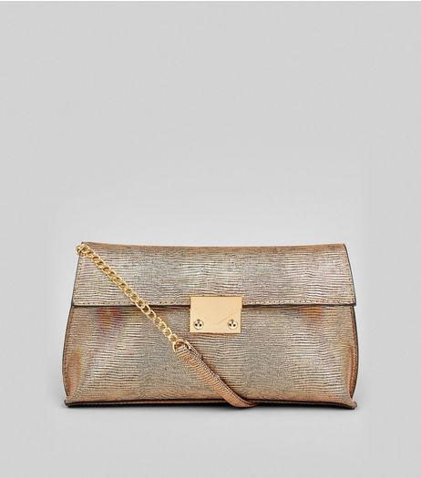 Rose Gold Metallic Snakeskin Texture Shoulder Bag | New Look