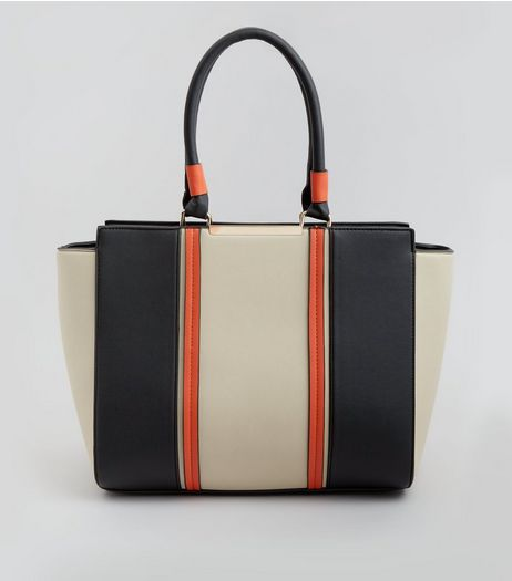 Orange Contrast Panel Tote Bag | New Look