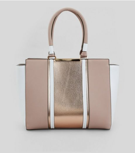 Rose Gold Metallic Contrast Panel Tote Bag | New Look