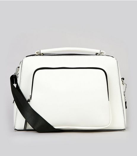 White Chunky Zip Luggage Bag | New Look