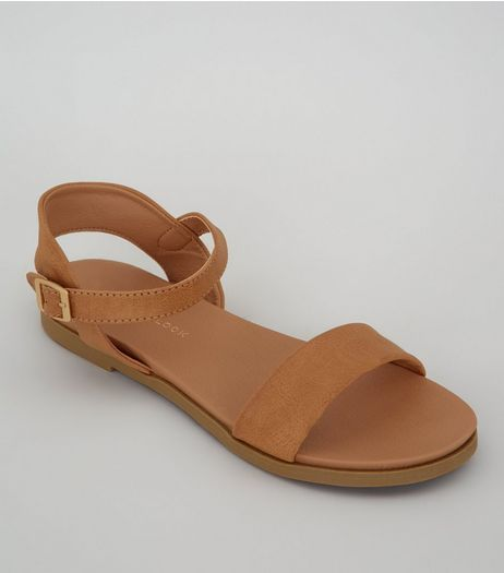 Wide Fit Tan Suedette Ankle Strap Sandals | New Look
