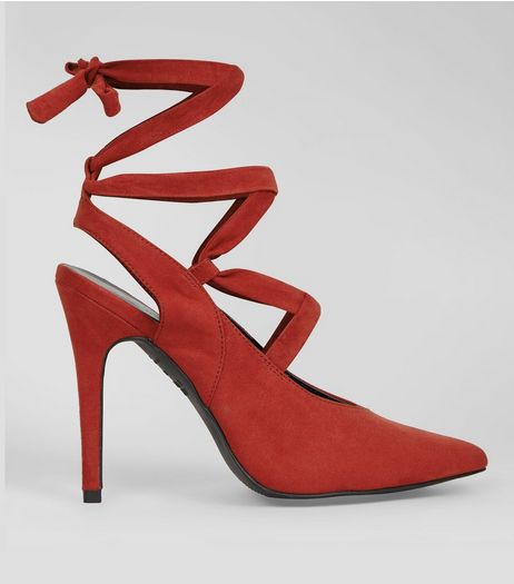 Red Suedette Lace Up Pointed Heels | New Look